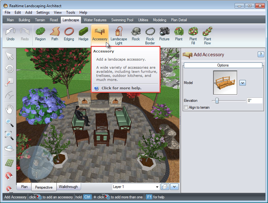 Adding an accessory to your landscape using the Accessory button