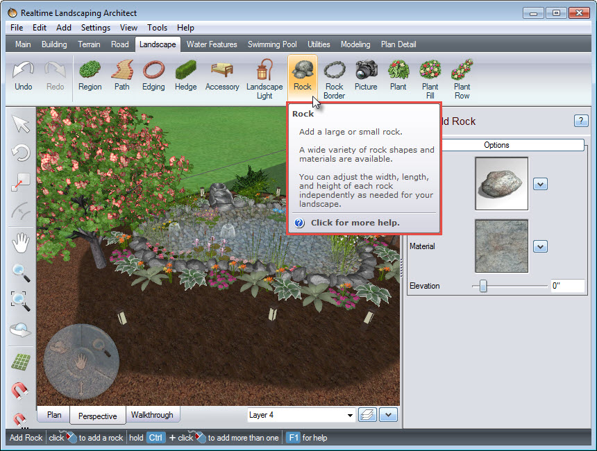 Adding a 3D rock to your landscape design using the Rock button