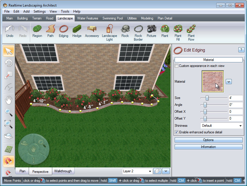 Placing points on the landscape to create the outline of your edging