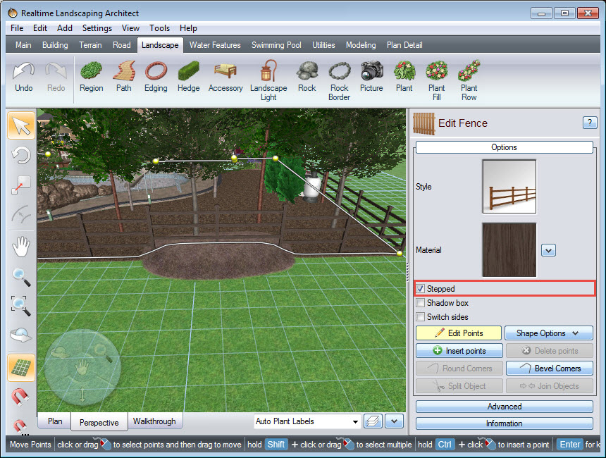 Here is an example of a stepped fence on uneven terrain
