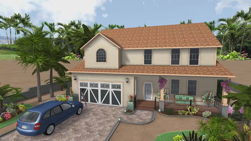 Completed 3D house design using our landscaping software