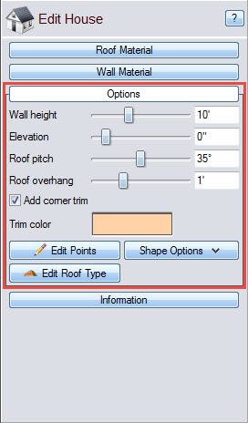 Edit the wall height, elevation, and roof pitch of your house
