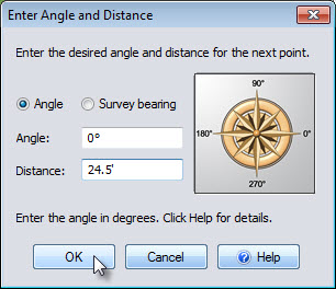 Enter the angle and distance when placing points for your house
