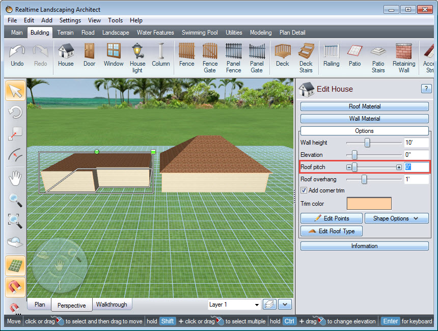 Edit the angle of your house's roof pitch