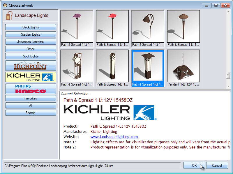 Light selection featuring models from Highpoint, Kichler Lighting, and Philips Hadco
