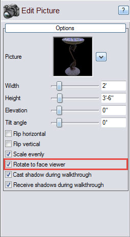 Choose if the picture will always face you by selecting this option
