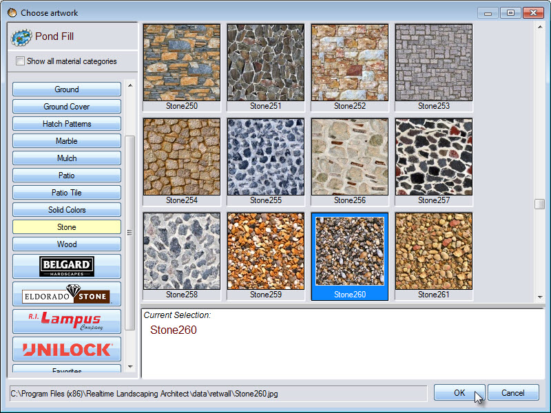 Choose from a large selection of pond fill materials