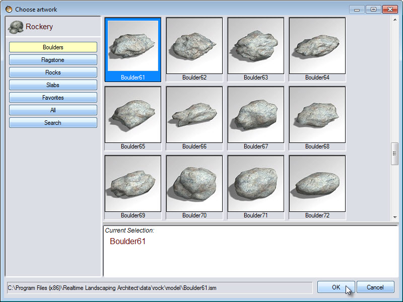 Large variety of rock models