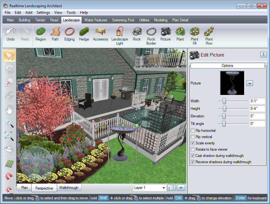 Scale or rotate the picture in your landscape design quickly