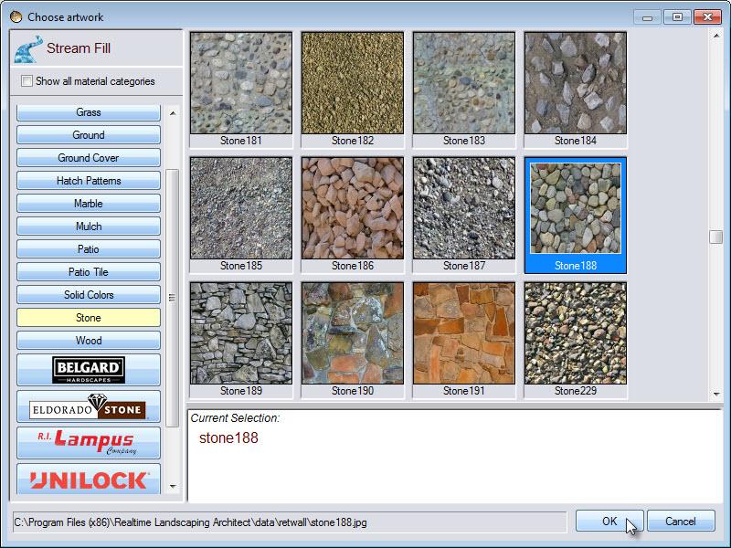 Wide selecrion of stream fill materials, including some from Belgard, Eldorado stone, and Unilock