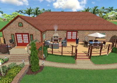 3D View of Backyard Landscaping