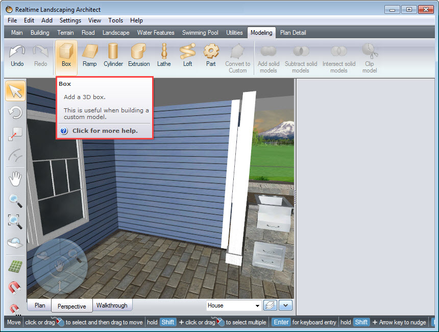 Add a box using the Modeling tools