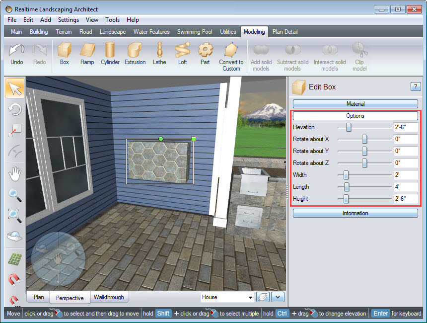 Adjust the dimensions of the box using the Object Properties panel