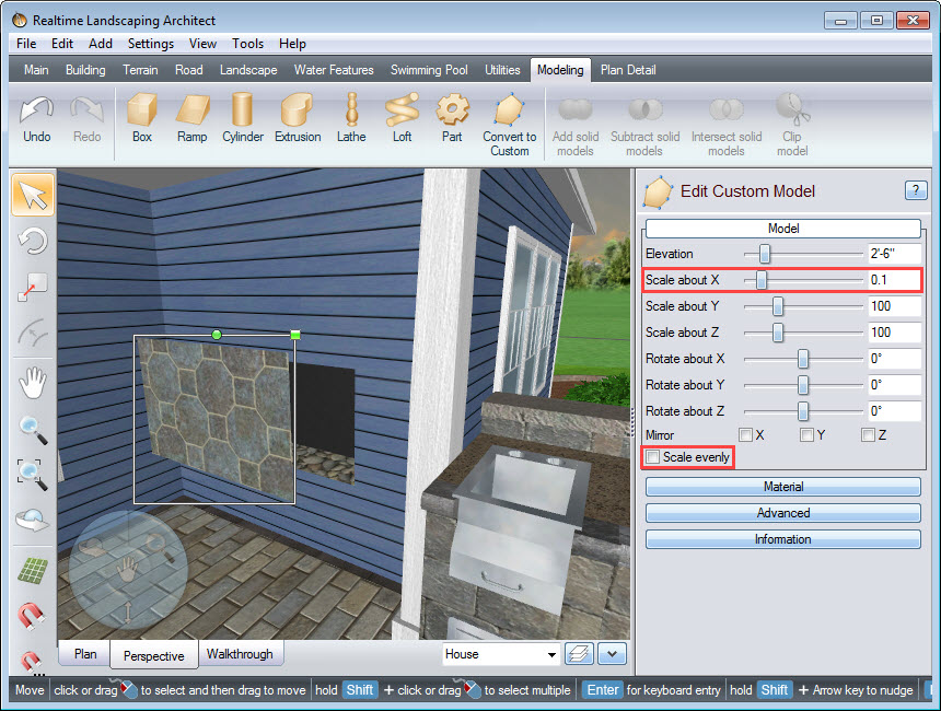 Customize the glass panel by converting it to a custom model