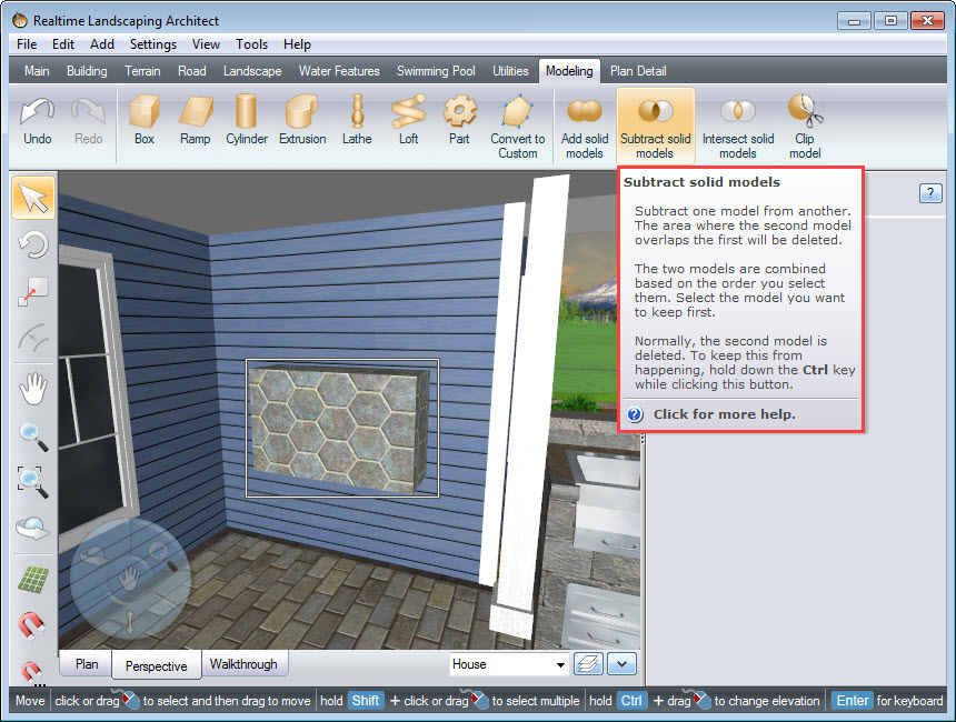 Use the Subtract solid models tool to cut a hole for the inset fireplace