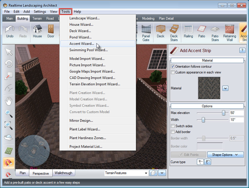 Click Accent Wizard, to add a pre-built accent to your landscape design