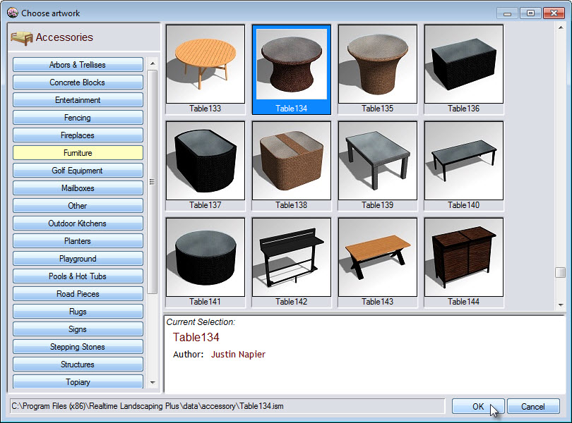 Wide selection of landscaping accessories including outdoor furniture