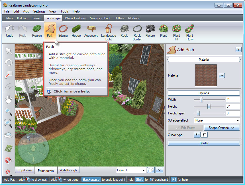 Path button on Realtime Landscaping Pro
