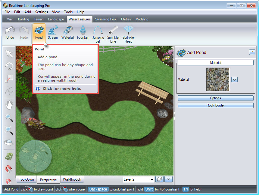 Add a pond to your design using Realtime Landscaping Pro