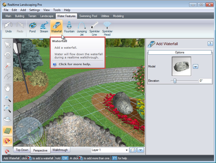 Add a waterfall to your landscape design using the Waterfall button