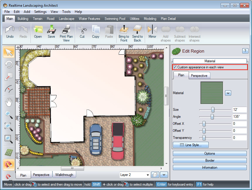 Custom appearance in plan view option