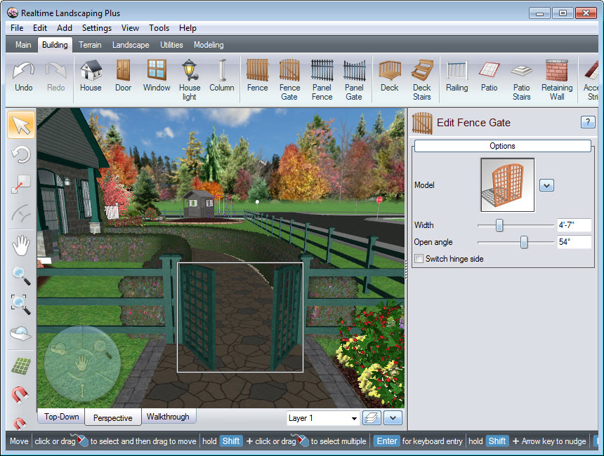 Place your fence gate where you desire using our landscaping software