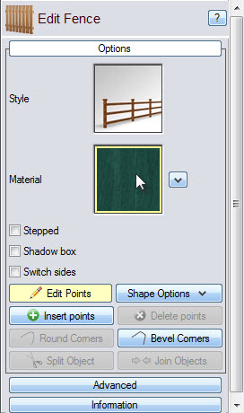 Click the fence material image to choose from a variety of material types