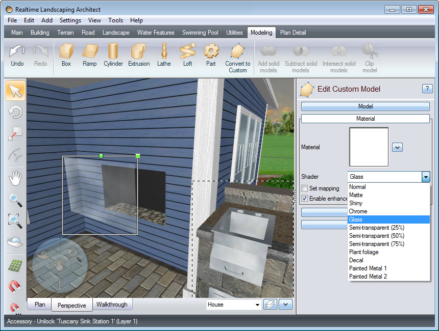 Turn the custom box object into a clear pane of glass