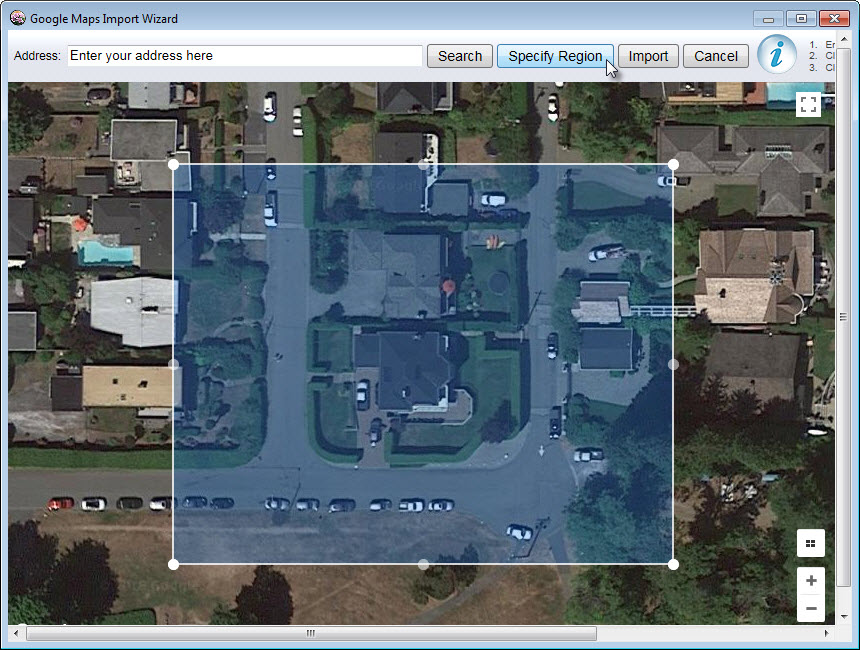 Using Google Maps click the Specify Region button