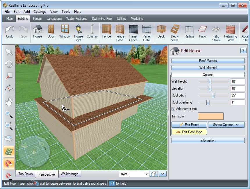 Edit the roof type of your house to gabled