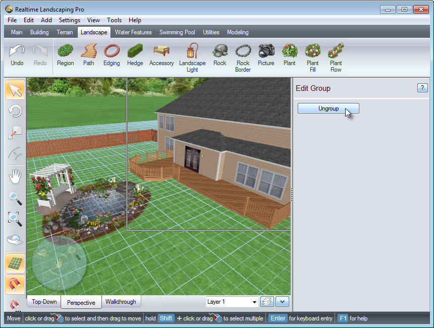 Click the Ungroup button to further customize the house