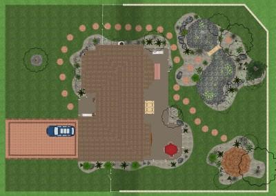 Landscape Design with Pond and Gazebo