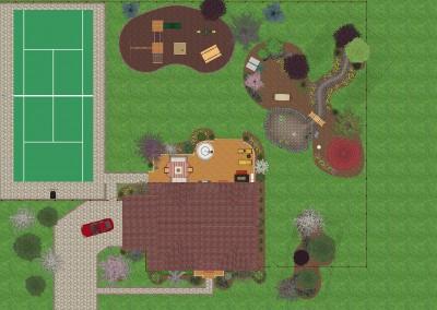 Landscape Design with Tennis Court