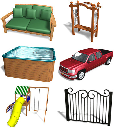 large library of landscaping accessories included with Realtime Landscaping Photo
