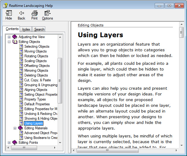 Access the Help menu for help using layers