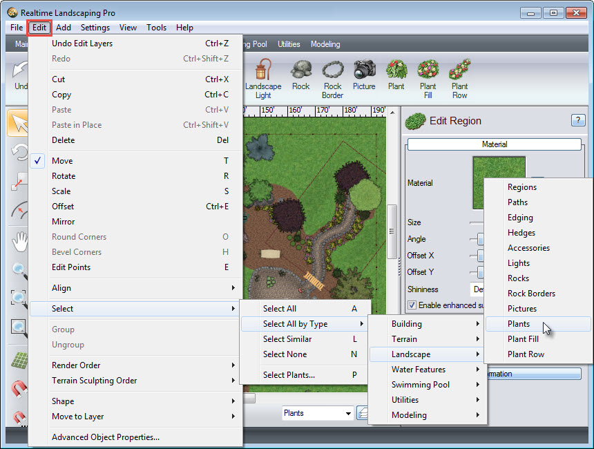 Select all plants to add to your new layer