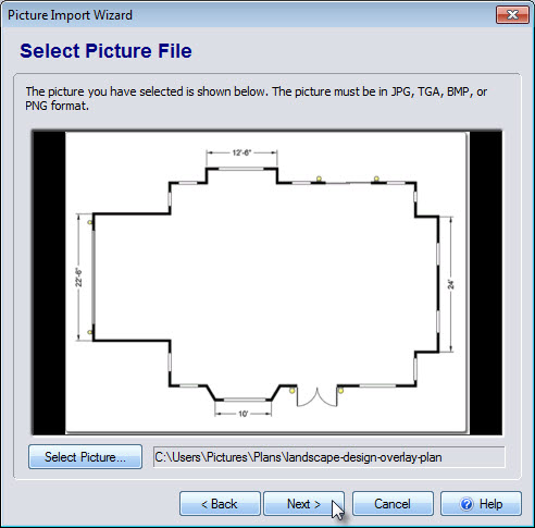 Click Next after you have selected the correct picture file