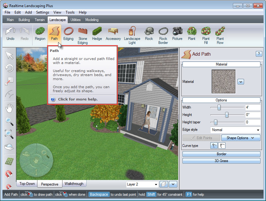 Path tool on Realtime Landscaping Plus