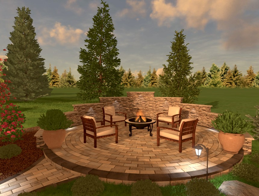 Here is the completed circular patio