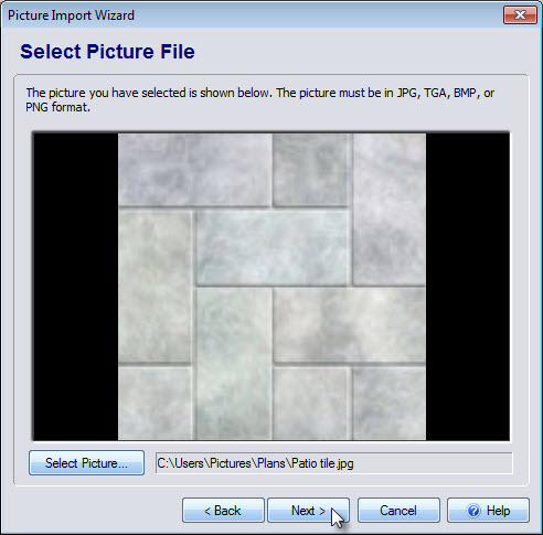 Select the picture file you wish to import