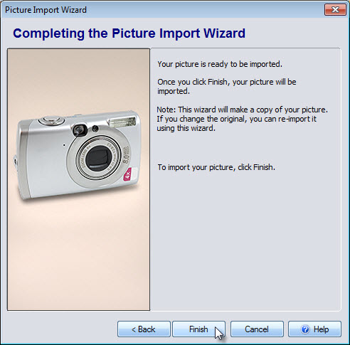Click Finish to complete the Picture Import Wizard