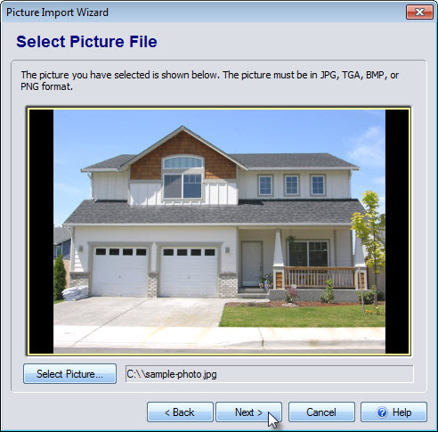 Select the picture you wish to import