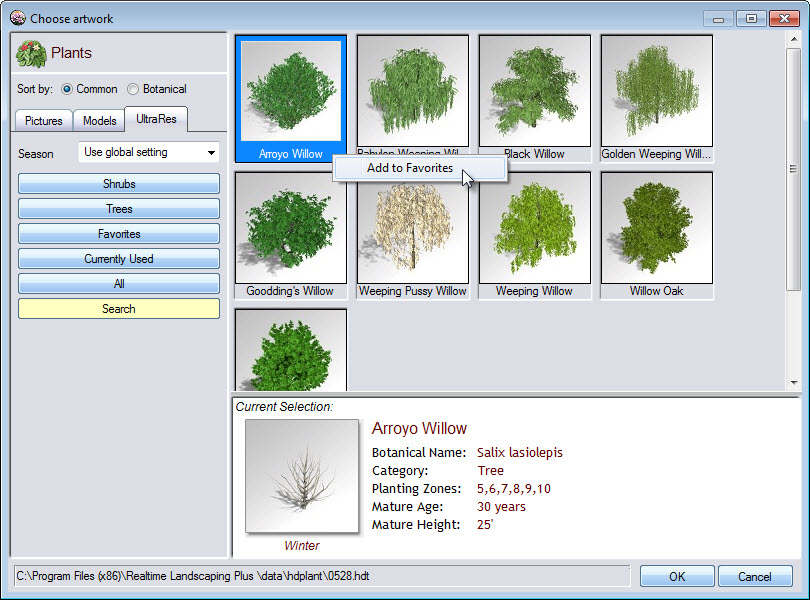 Add commonly used plants to your favorites