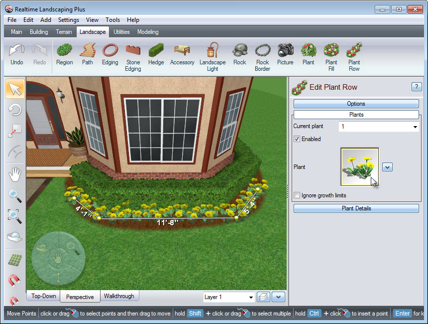 Place points to create the outline of your plant row