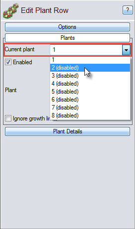 Select the number of plant types you want in your plant row
