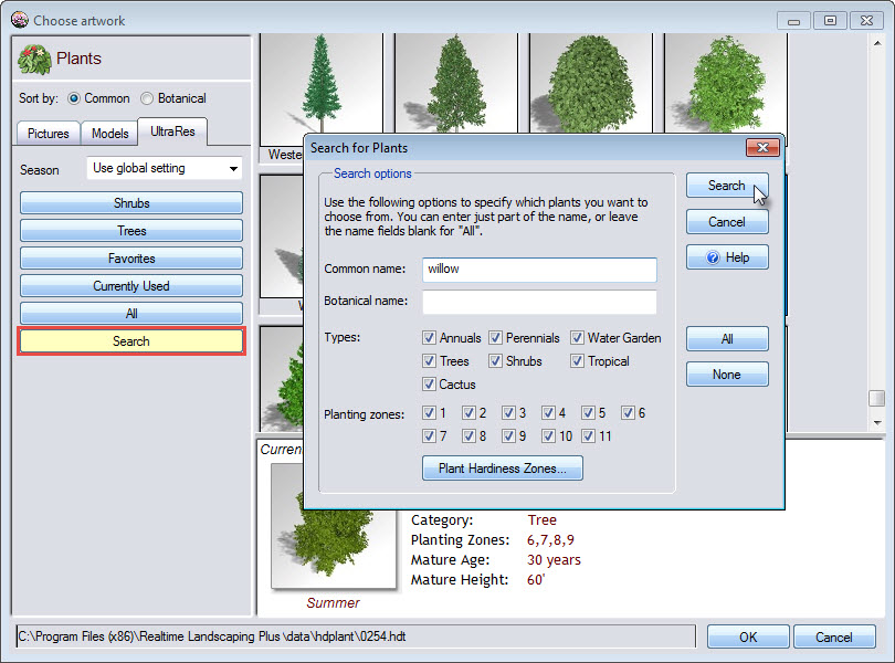 You can search through the plant options using either common or botanical name
