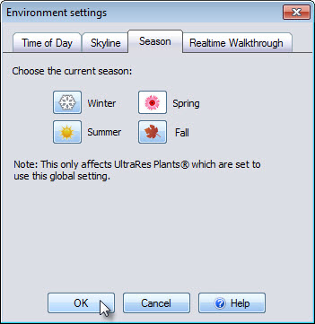 Select the fall season to change the appearance of your UltraRes plants