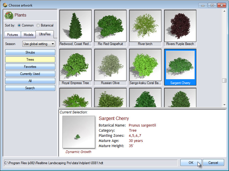 Selection of plants including, pictures, models and UltraRes