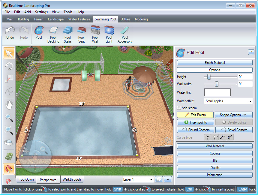 Place points to create the outline of your pool