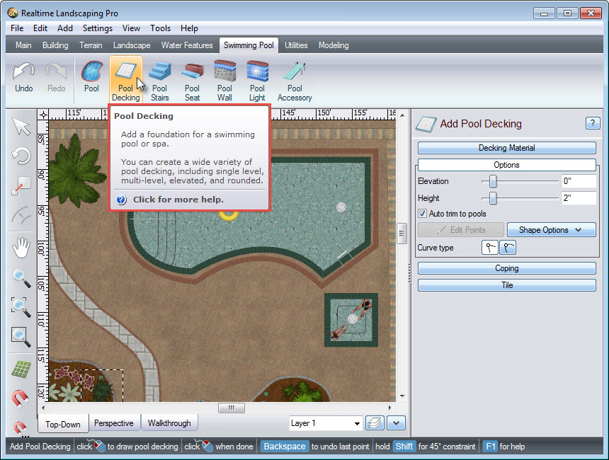 Click the Pool Decking button to add a pool deck to your landscape design